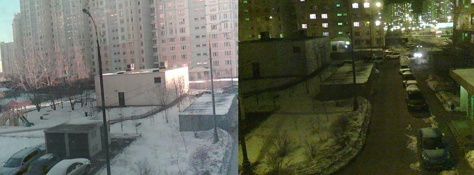 Дневное и ночное изображение миниатюрной камеры с ИК-подсветкой