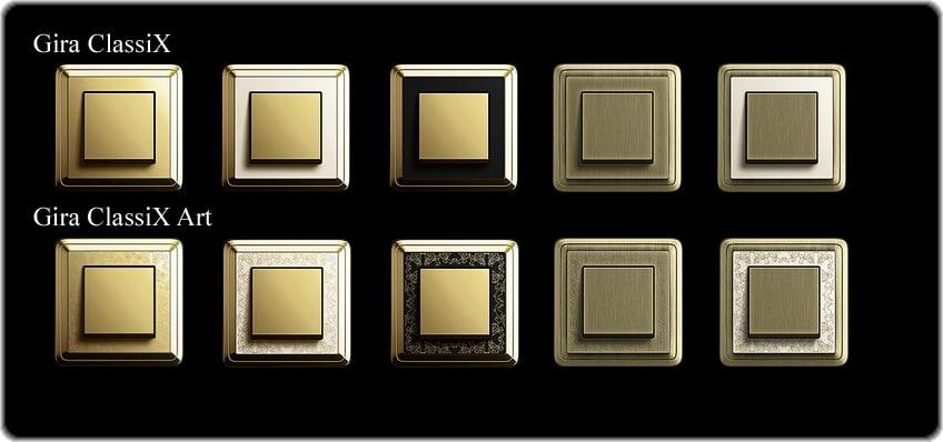 Различные серии выключателей Gira