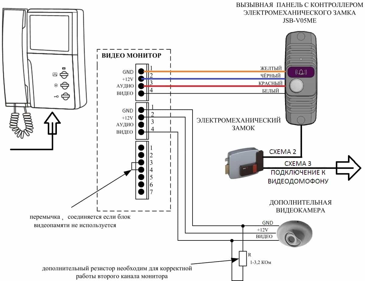 СХЕМА 1 Подключение вызывной панели к контактной планке видеодомофона