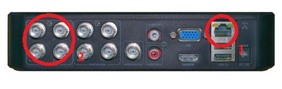 BNC выходы (2) на обратной стороне видеорегистратора модель AR1108