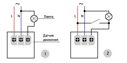 Схема подключения датчика движения к осветительному прибору (1), с принудительным выключателем (2)